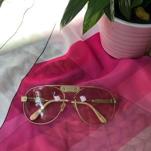 Chloe tinted tan glasses with leather accents